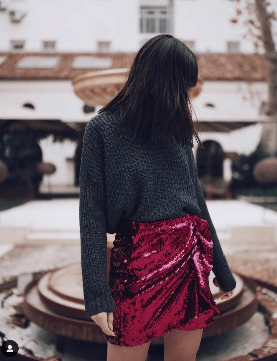 marta riumbau falda lentejuelas jersey de lana gris
