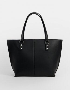 Shopperbag en color negro de Stradivarius.