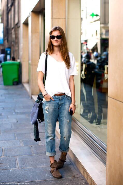 Los boyfriend jeans son una de las prendas holgadas más famosas.