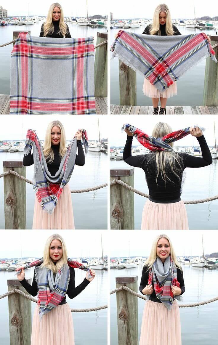 Formas de llevar una bufanda tipo manta: estilo pañuelo.