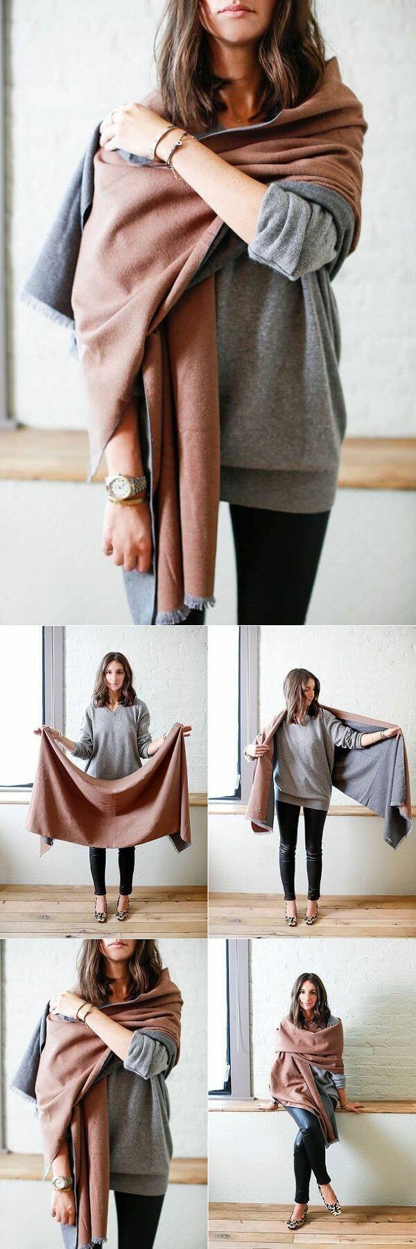 Formas de llevar una bufanda tipo manta.