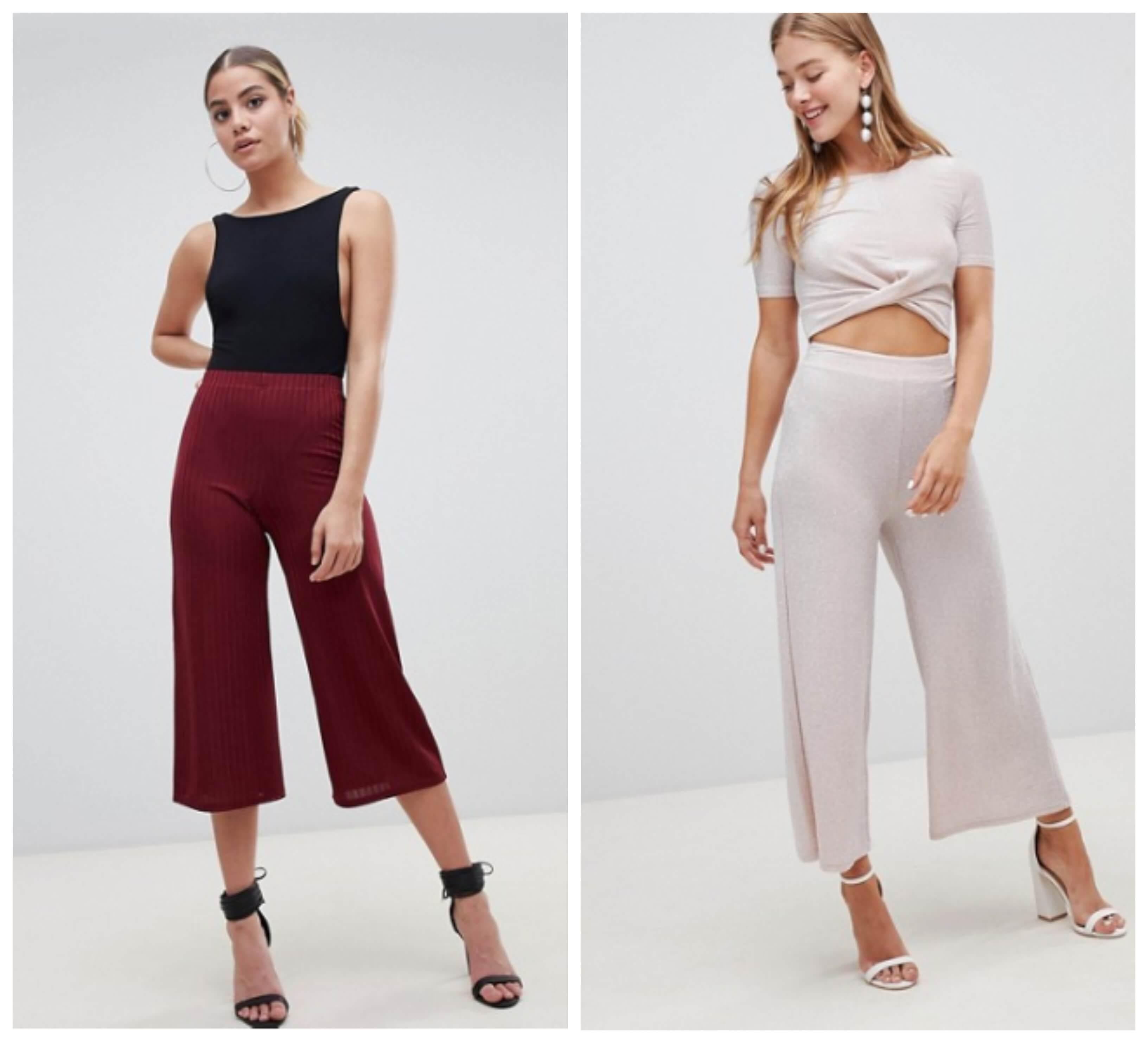 Looks de pantalón culotte con crop tops.