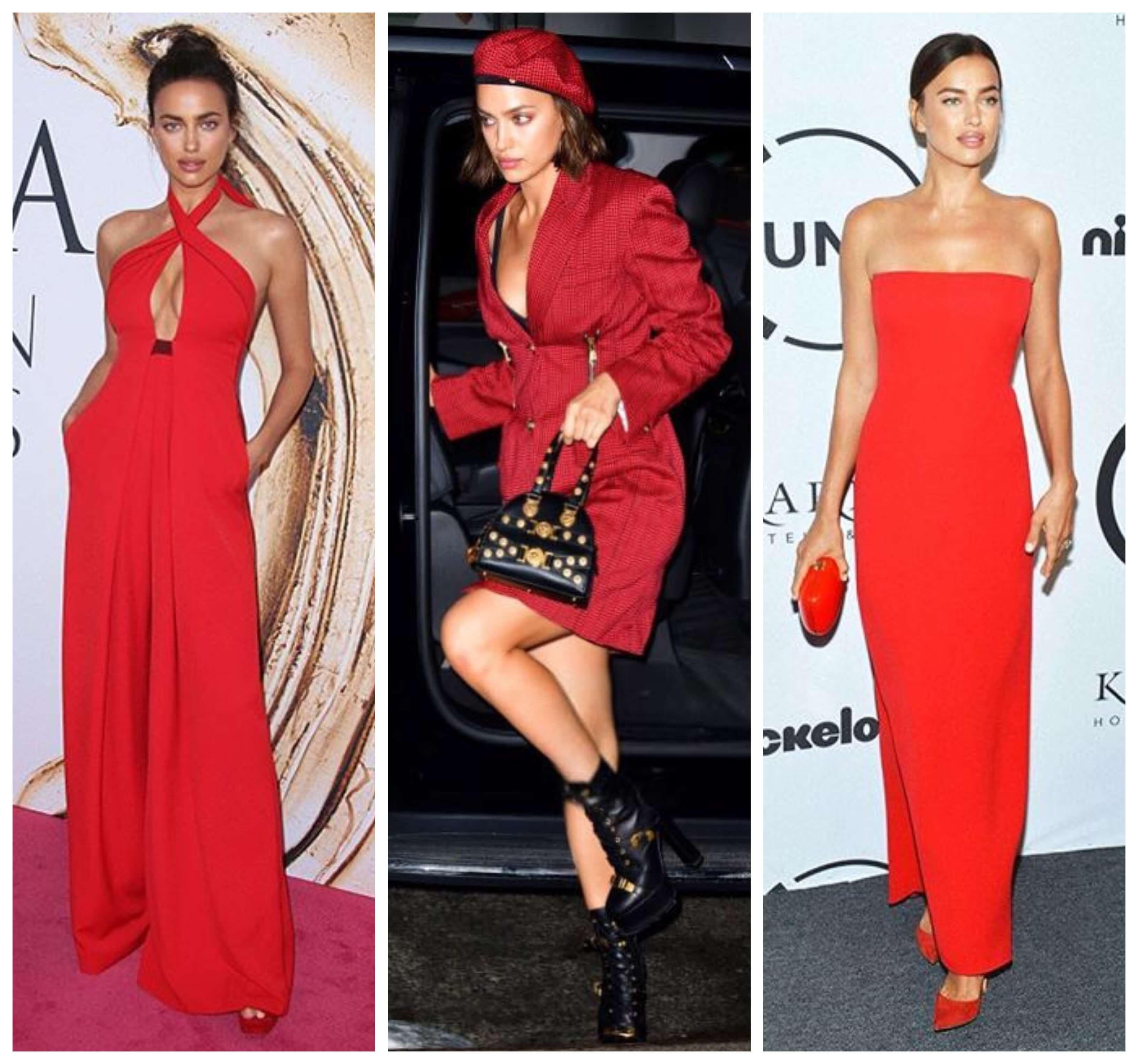 Irina shayk con total look rojo