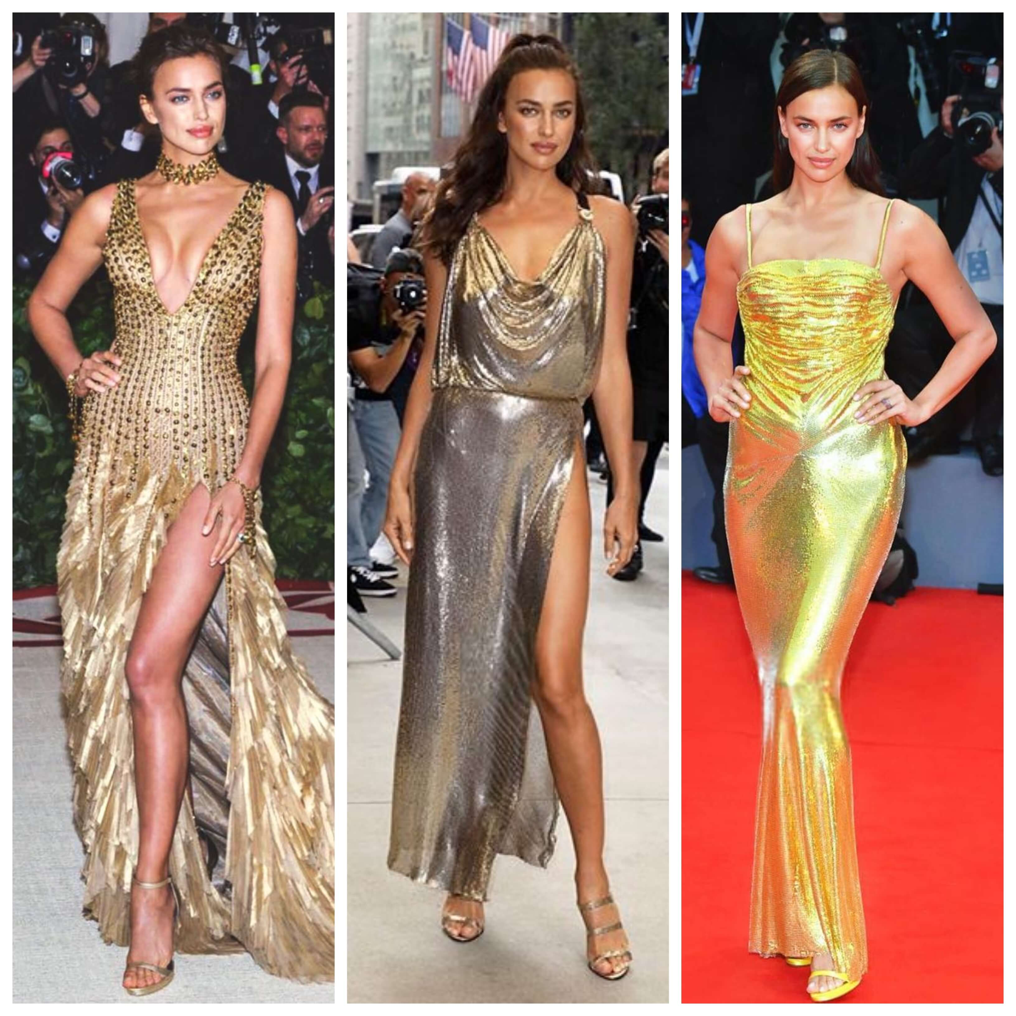 Irina Shayk con vestidos dorados