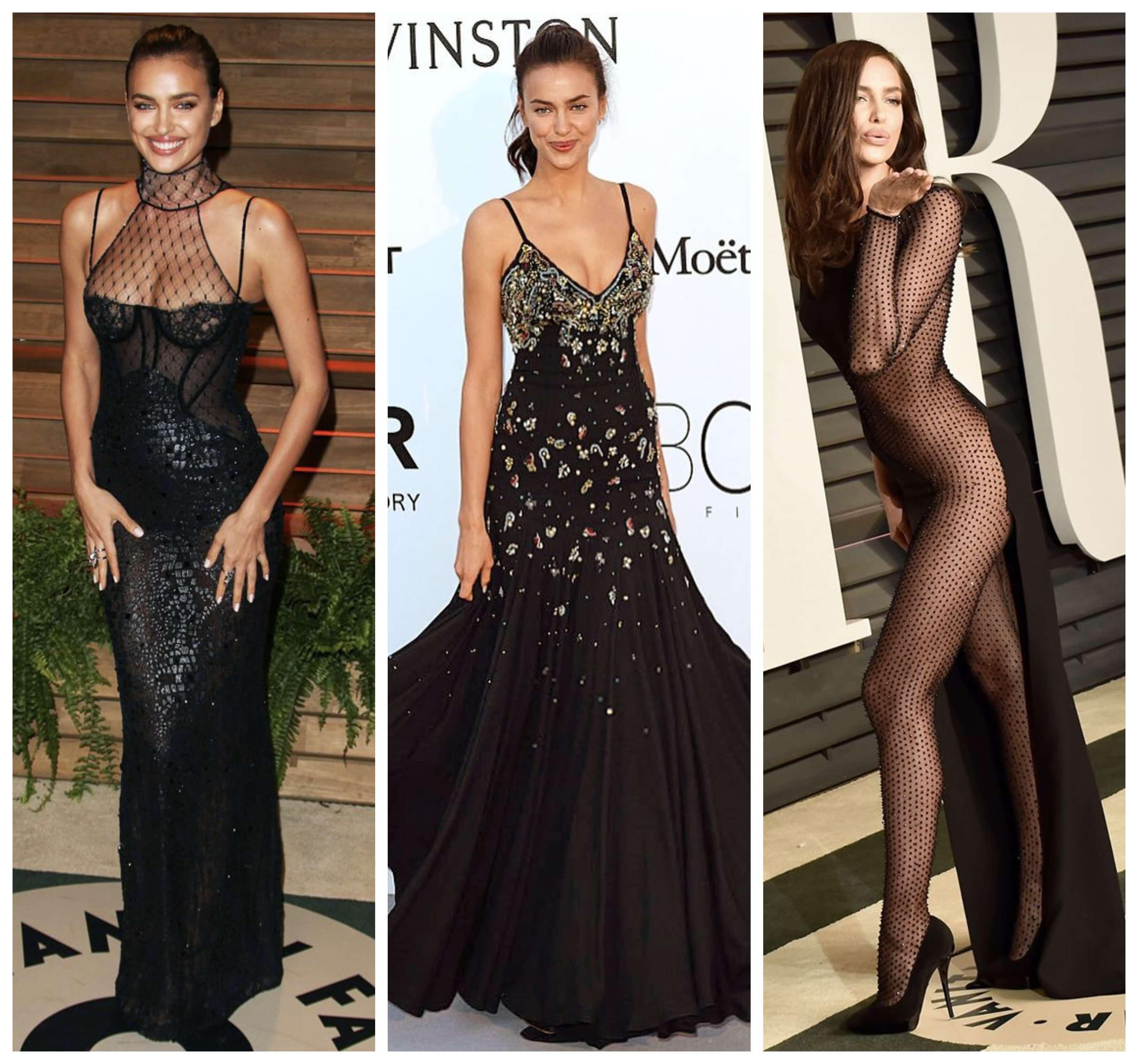La supermodelo rusa con vestidos negros.