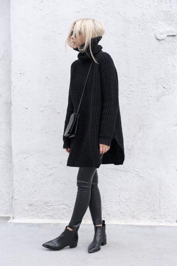 Look de jersey negro oversized, para diario.