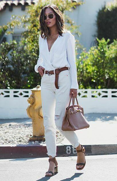 Inspiraciones para llevar pantalón blanco y blusa blanca