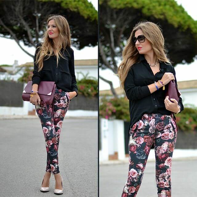 Pantalón de rosas en un look casual semi formal.