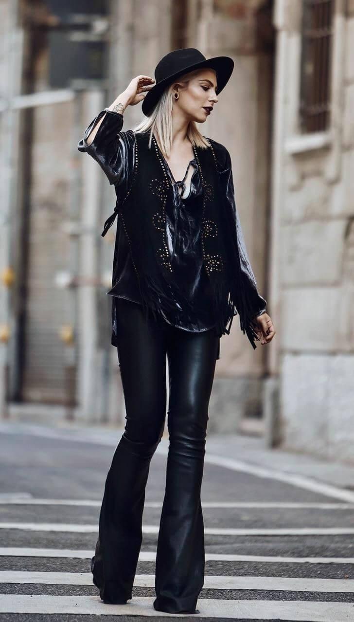 Total black look estilo nu grunge.