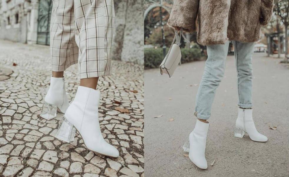 Sofía Reis con botines blancos.