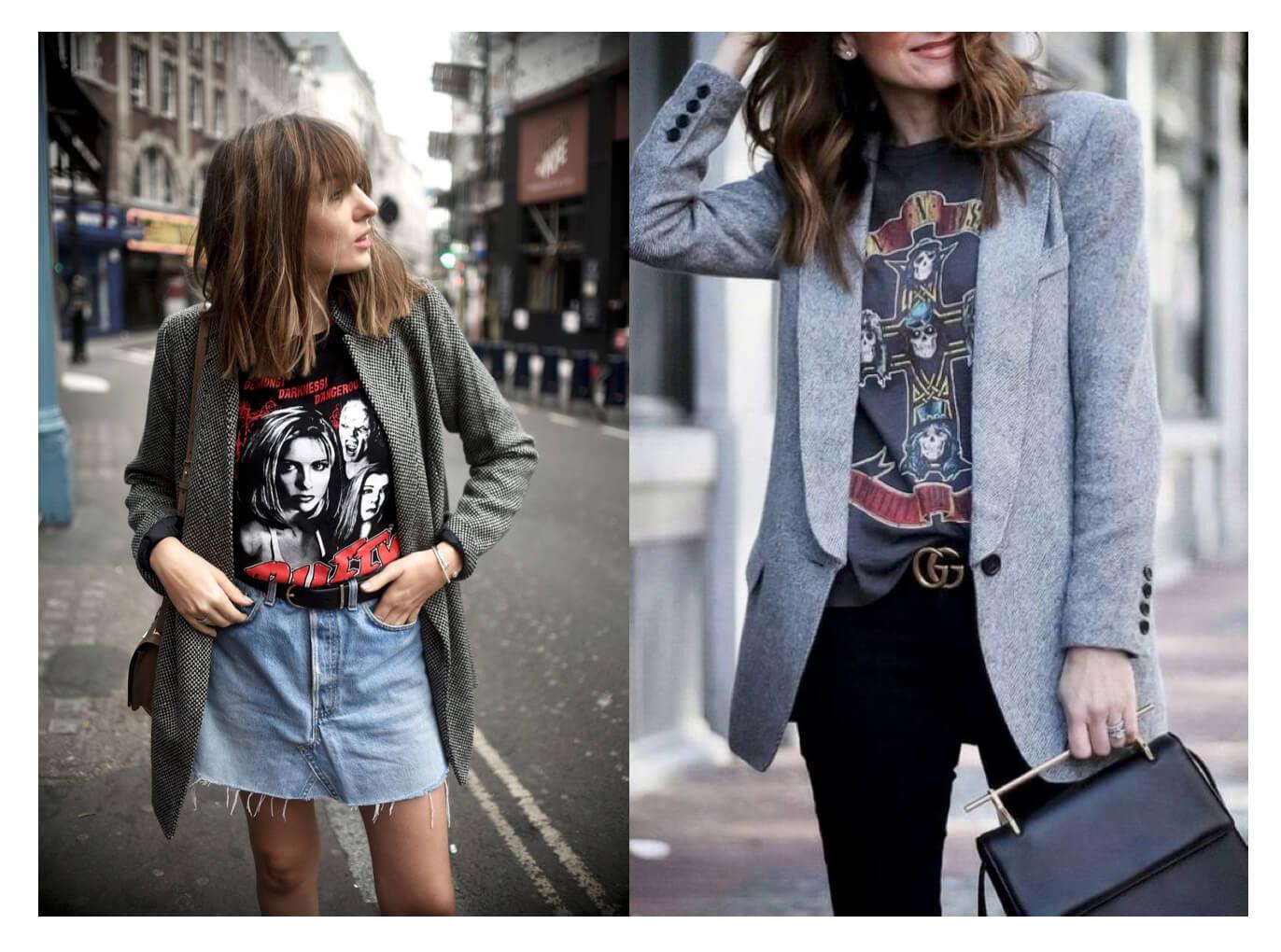 Blazer gris con camiseta de banda estilo rockera.