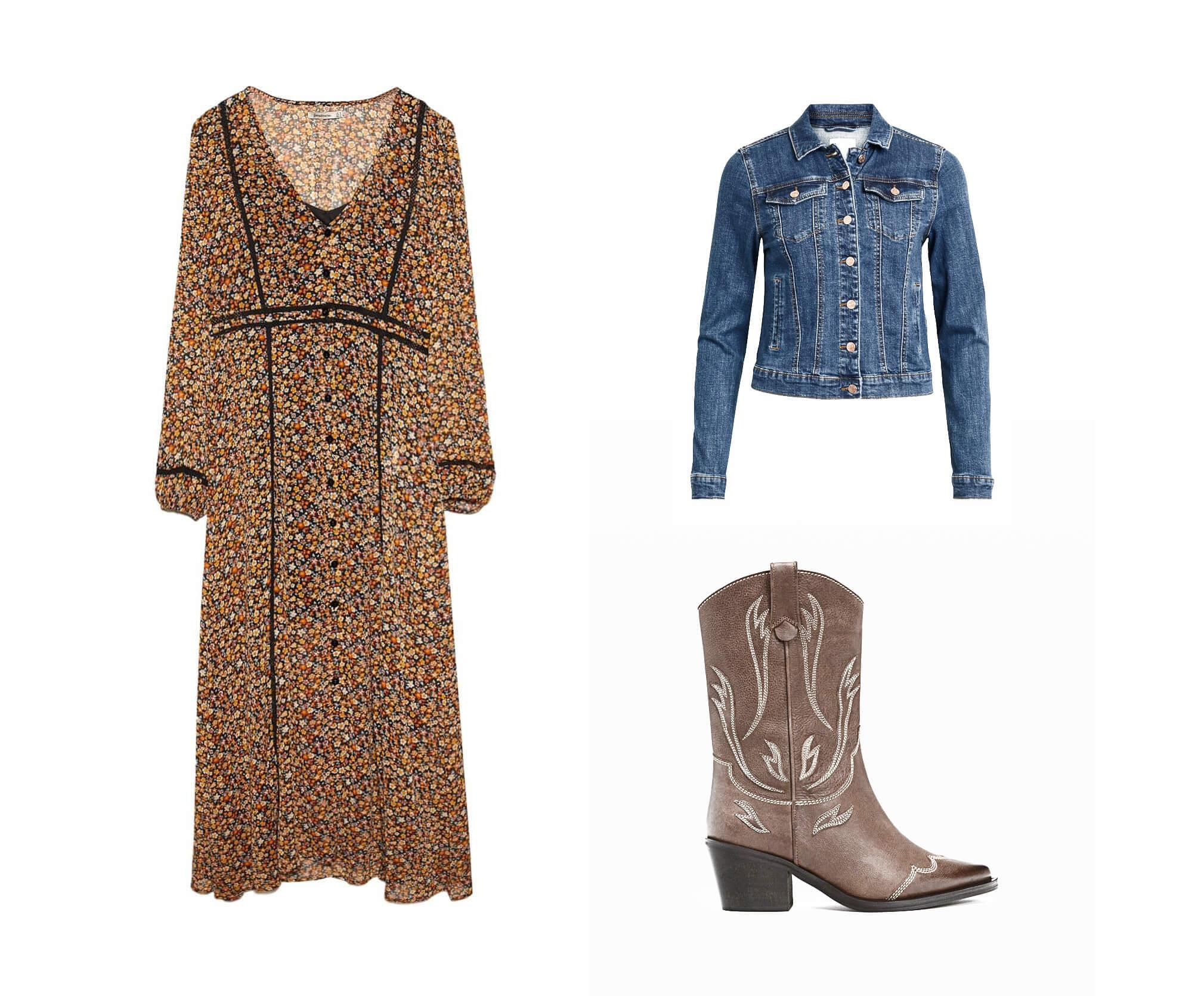 vestido boho con botas country y cazadora vaquera