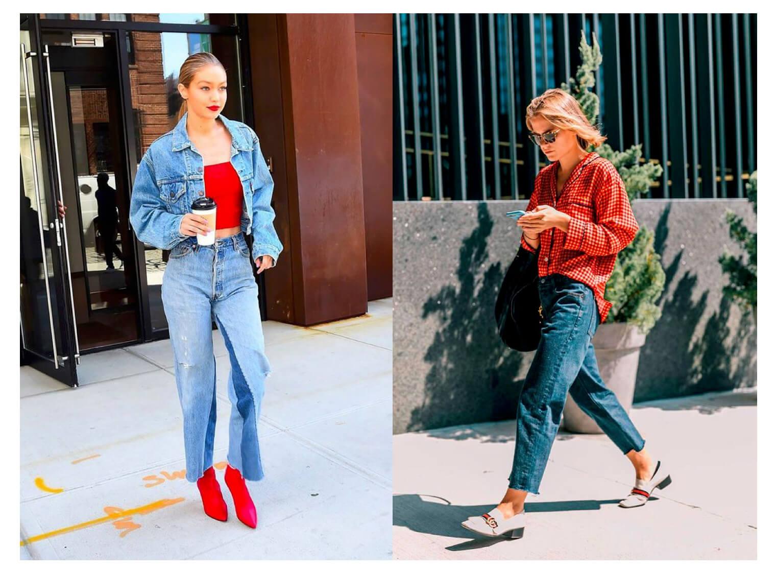 Looks rojo + jeans
