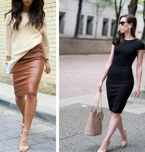 Falda y vestido lápiz