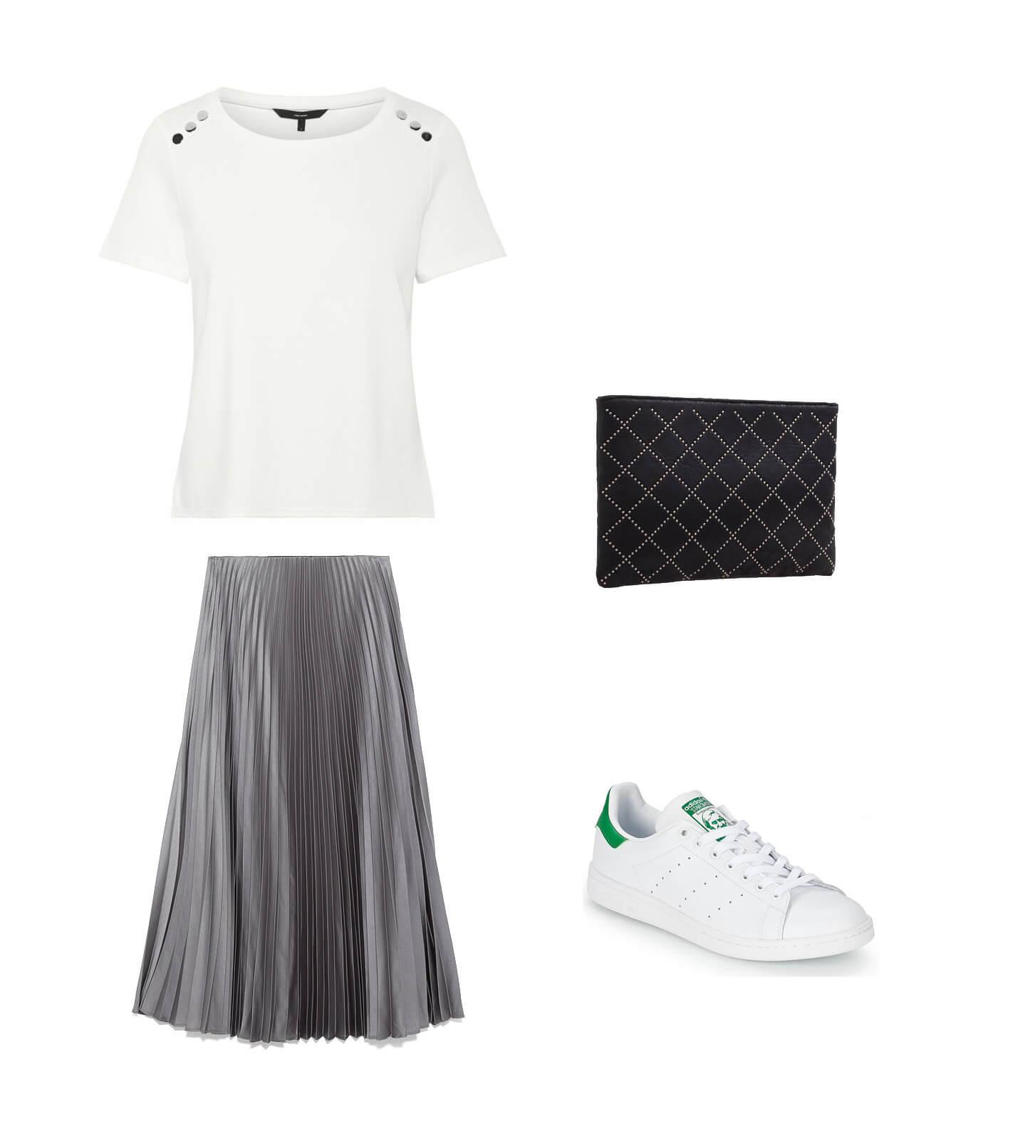 2do look para mujer de 30 años con falda de tablas.
