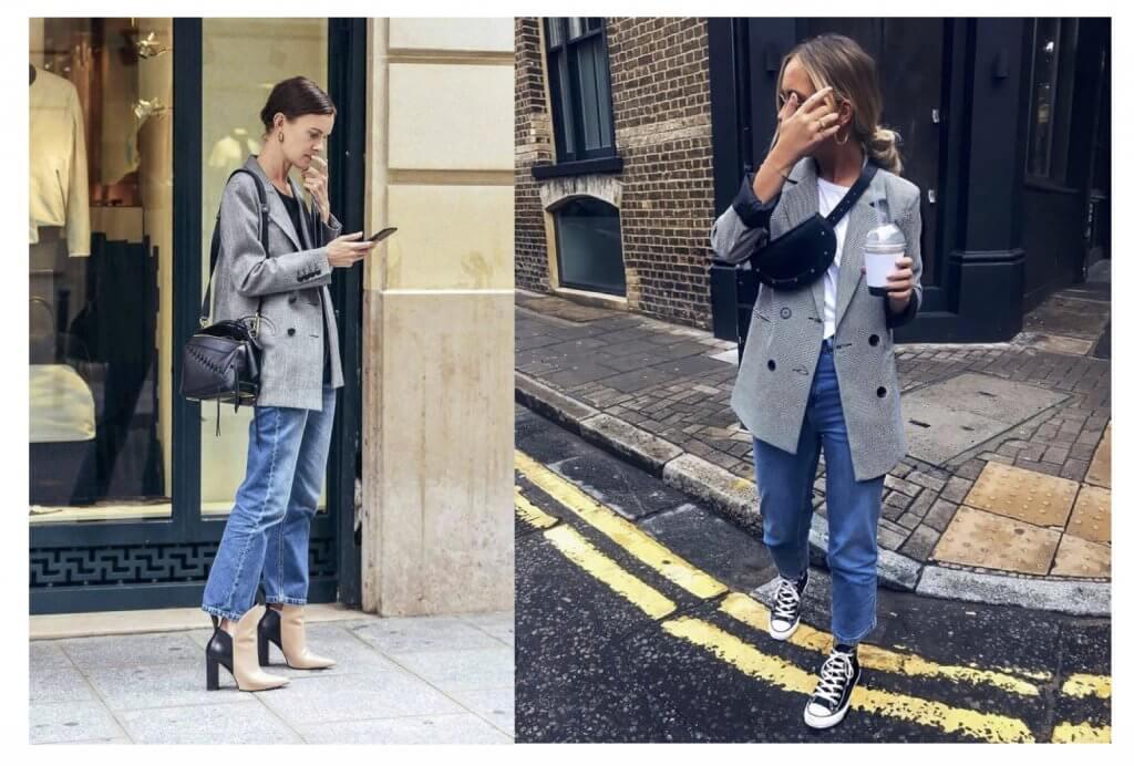 Blazer gris con jeans