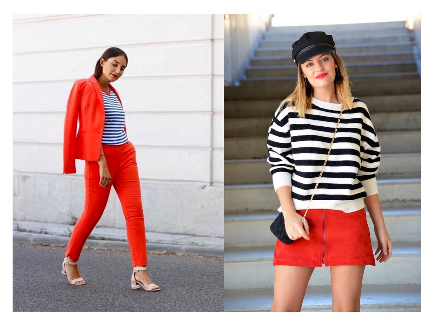 Ideas de looks navy y rojo