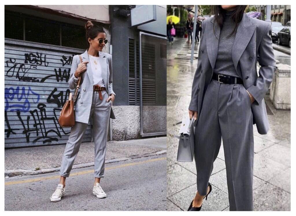 Looks total grey con blazer.