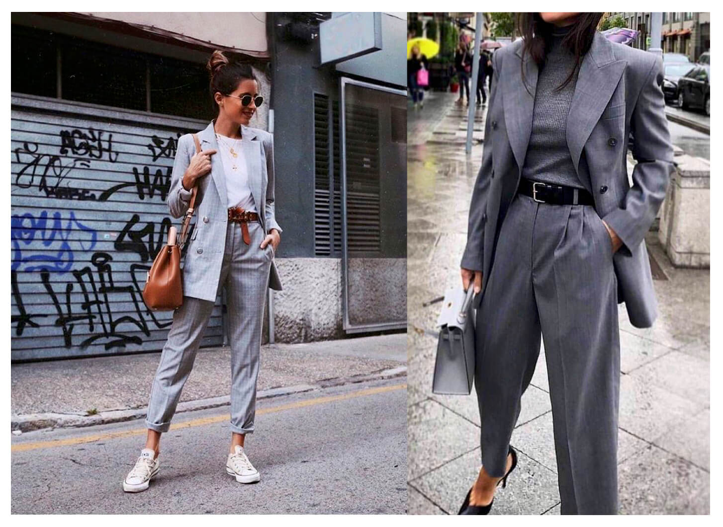 Looks total grey con blazer.