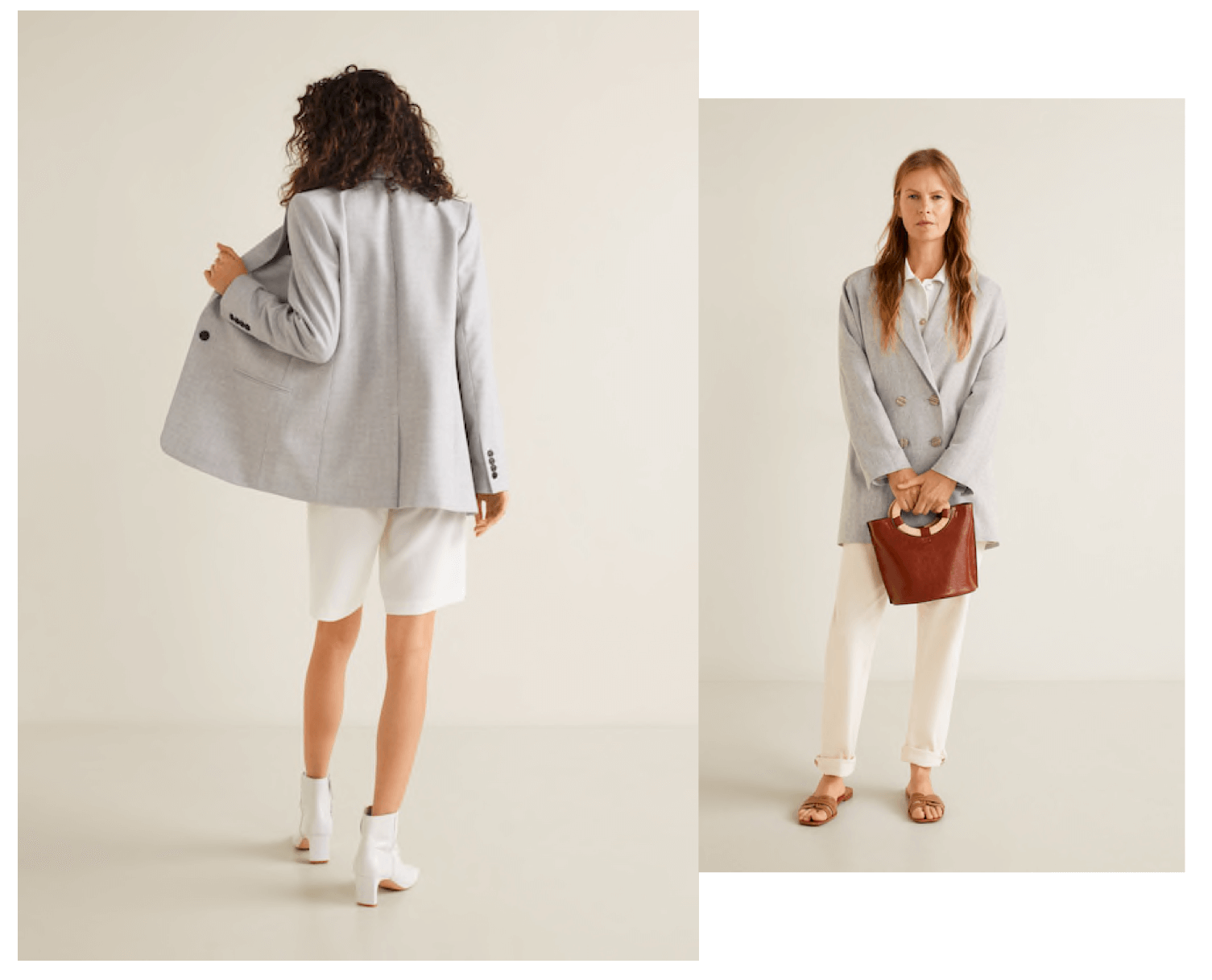 Looks total white con americana gris