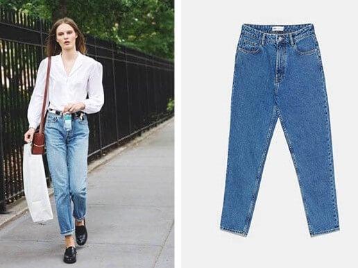 Conjunto de blusa blanca y vaqueros mom jeans y camisa.